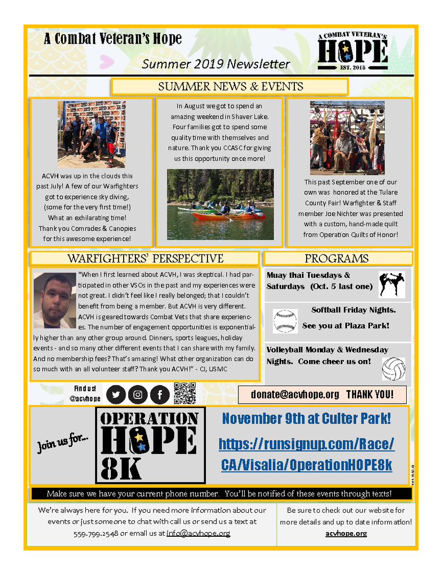 ACVH Monthly Newsletter - Summer 2019